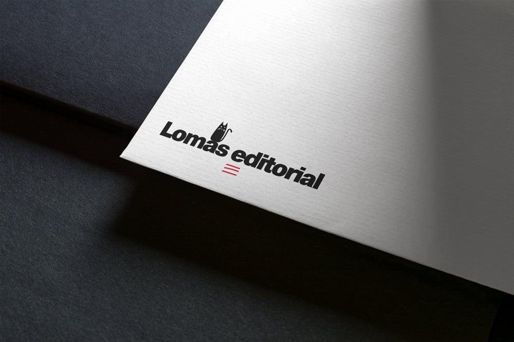 branding work for lomas editorial logo mockup
