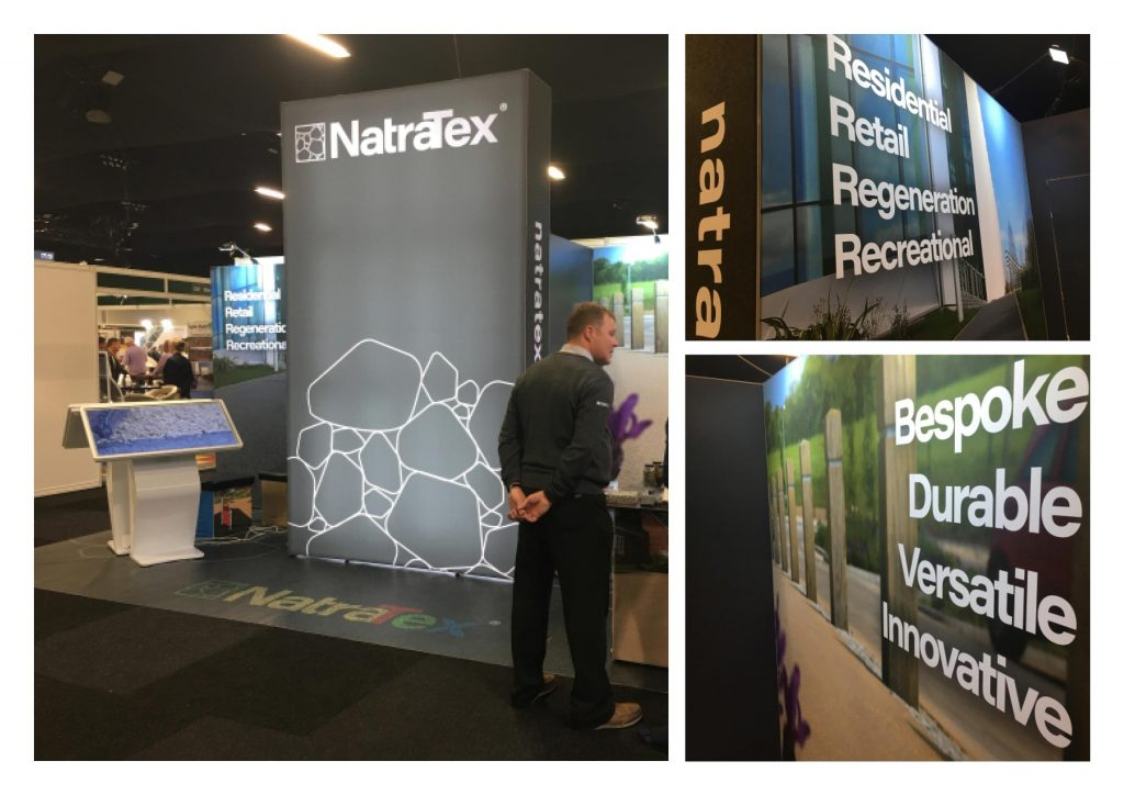 Exhibition design stand build for Natratex