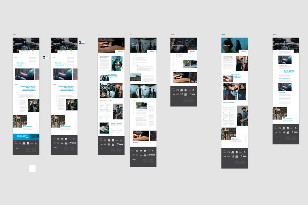 Mock up of website front end. XD project capture.