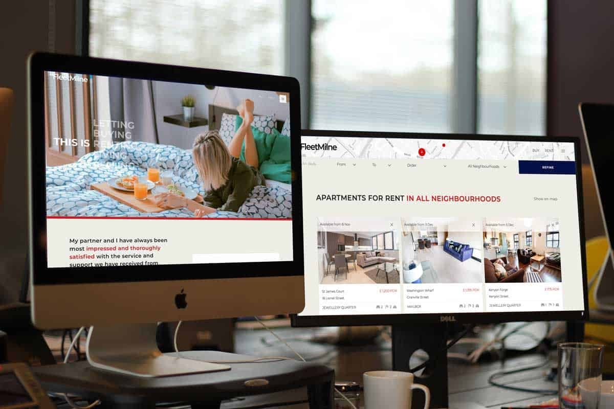 website design creative tweed. Fleetmilne property shown on desktop